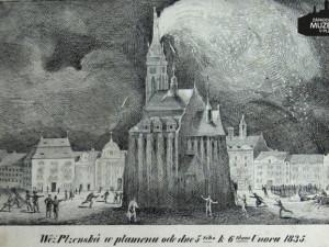 Před 186 lety způsobil blesk požár plzeňského chrámu sv. Bartoloměje