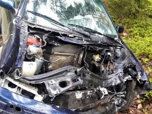 Po děsivém nárazu do stromu vyletěl z auta motor, řidička utrpěla těžké zranění