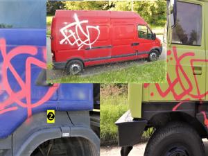 Sprejer vyzdobil dva náklaďáky a jednu dodávku svým podpisem
