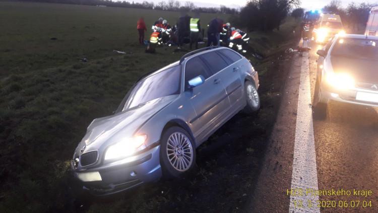 FOTOGALERIE: Nehoda dvou vozidel na jižním Plzeňsku